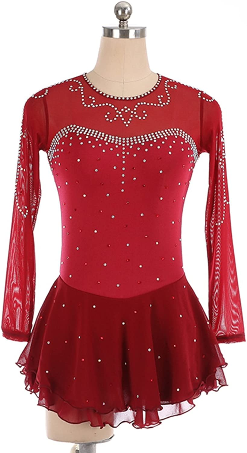 Heart&M Ice Skating Dress for Women, Handmade Figure Skating Competition Costume Nylon Skating Dress Crystals Long Sleeved Red