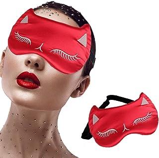 IYOU Máscara para dormir de seda de morera, máscara de ojos roja, sombra de ojos para dormir y dormir de ojos Coverig de v...