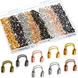 800 Pieces Brass Wire Guardian 8 Colors U-Shape Cable Protector Wire Guard Loops for Earring Bracelet Necklace Pendant DIY Jewelry Making Supplies