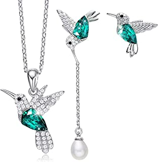 CDE Jewelry Gift Hummingbird S925 Sterling Silver Jewelry Set Pendant Necklace Pearl Earrings Set Embellished with Crystals from Swarovski Fine Jewelry for Women
