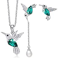 CDE Hummingbird S925 Sterling Silver Jewelry Set Women Pendant Necklace and Stud Earring Set...