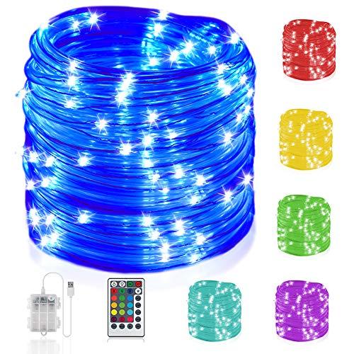 10M LED Schlauch Lichterkette Außen mit Fernbedienung, 132 Modi IP68 Wasserdicht Bunt batteriebetrieben & USB mit Fernbedienung Timer für Innen / Außen Valentinstag Kinderzimmer Hochzeit Party Deko