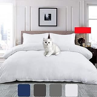 EMONIA Soft Duvet Cover Set 1800 Series Queen Size Zipper Closure 3 Pieces Quilt Comforter Protector (1 Duvet Cover & 2 Pillow Shams) Wrinkle Fade Resitant (NO Duvet or Pillow) (Queen, White)