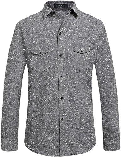 SSLR Camisa Hombre Manga Larga Slim de Franela a Lunares (Large, Gris)