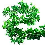 Natuce Piante Artificiali 12 Pezzi 24M Edera Finta Artificiale da Appendere Edera Ghirlanda Piante Finte da Esterno Rampicante per Balconi Giardino Matrimonio Decorazione Verde