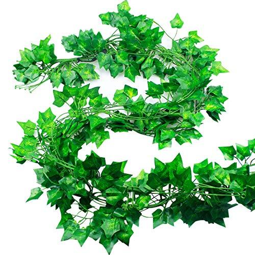 Natuce Hiedra Artificial 12 Piezas 24M Plantas Artificiales Decoracion Hiedra Guirnalda Colgantes de Plastico y Tela para Boda Fiesta Jardín Exterior Decoración de la Pared Verde