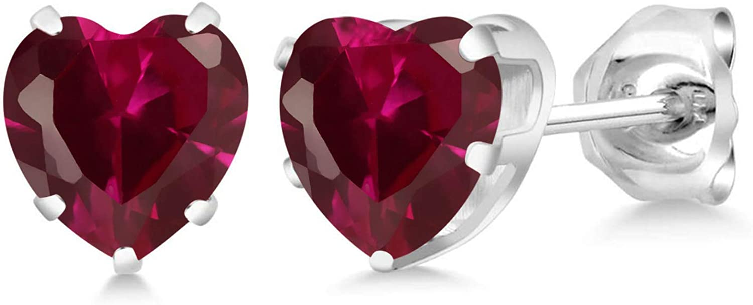 shopping Award-winning store Gem Stone King 1.20 Ct Heart Shape Created Red 5mm 925 Ster Ruby