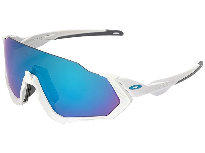 Oakley Flight Jacket (Polished White/Matte White w/ Prizm Sapphire) Sport Sunglasses