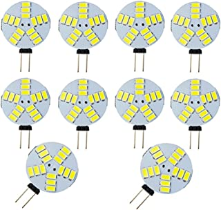 JKLcom G4 LED Bulb 4W G4 Bi-Pin Base 4 Watt LED Light Bulb DC 12V, 4W(Equivalent to 30W Halogen Bulb),for Landscape Ceiling Recessed Puck Lighting,Not-Dimmable,Cool White 6000K,15LED 5730SMD,10 Pack