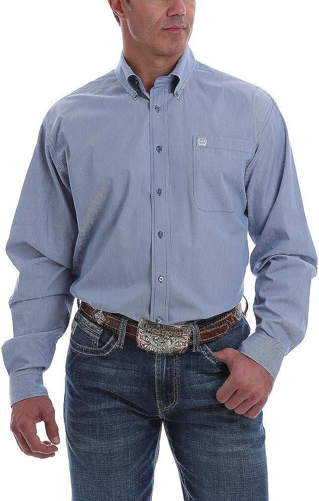 Cinch Men's Blue Mini Striped Long Sleeve Western Shirt