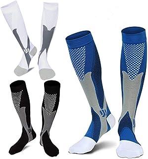 Calcetines De Compresión 3Pairs, 20-30 mmHg Calcetines Deportivos De Compresión para Hombres
