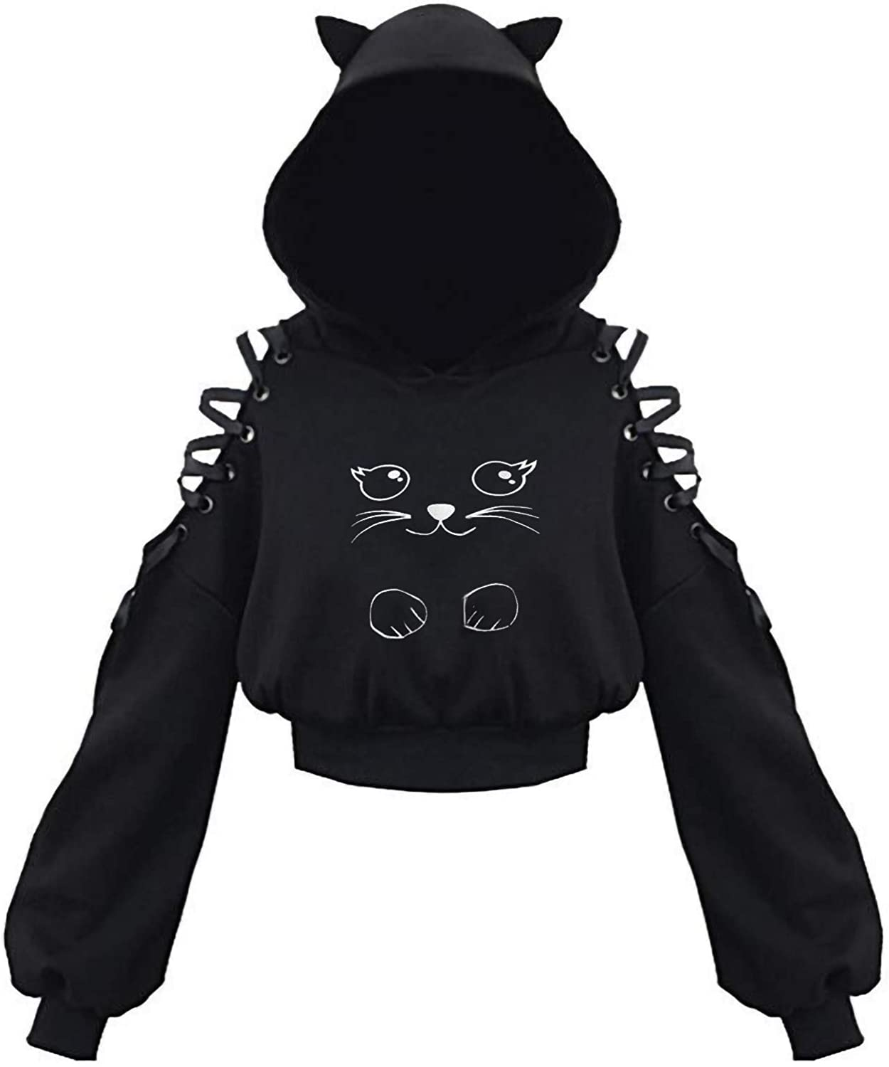 Nulairt Women's Hoodie Cat Ear Crop Top Hooded Sweatshirt Hollow Out Lace Up Pullover Hoodies for Teen Girls