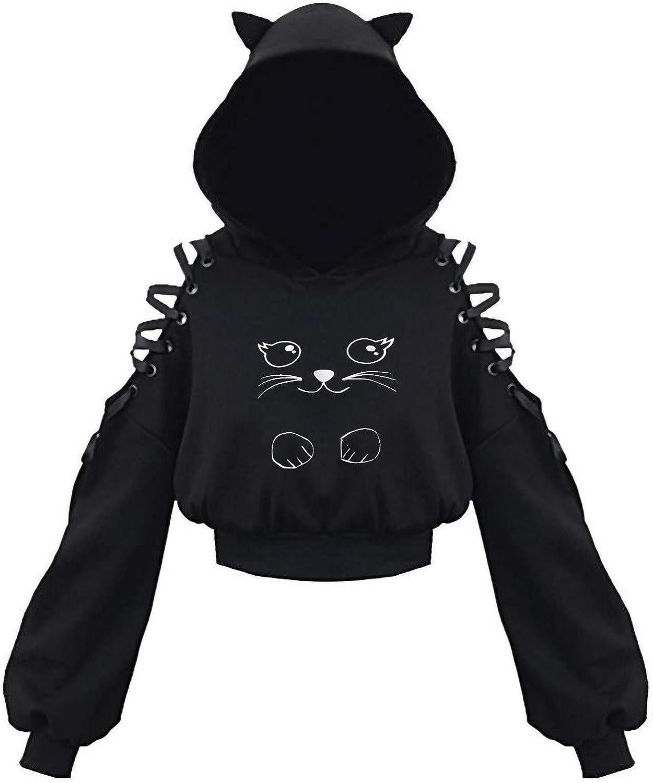 Nulairt Women Teen Girls Cat Hoodie Sweatshirt Cute Cat Ear Hooded Off Shoulder Hoodies Long Sleeve Pullover Sweater