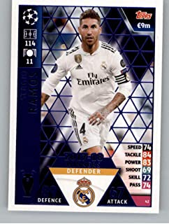 2018-19 Topps UEFA Champions League Match Attax #42 Sergio Ramos 17-18 Real Madrid Winners Official Futbol Soccer Card