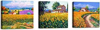 """AGCary Rural Sunflowers Under The Blue Sky Landscape Artwork Wall Art Posters Prints Canvas Framed for Living Room Bedroom Home Decor 12"""" X 12"""""""