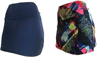 KIT 2 Shorts Saia Plus Size Suplex Cós Alto Estampada ou Lisa