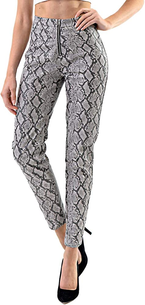 Edgy Land Girl's and Women's Slim-Sation Snakeskin Faux Leather Laminated Inner Trendy and Fashion Ankle Pant
