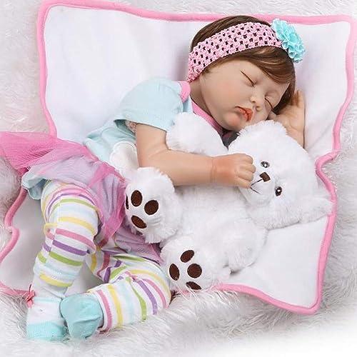 HAPA Realistische Schlafende Reborn Babys Puppe Lebensecht Babypuppe mädchen Silikon Dolls 55cm Kinder Spielzeug Geschenke