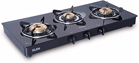 Glen 1033 GT XL Stainless-Steel 3 Brass Burner Glass Gas Stove (Black)