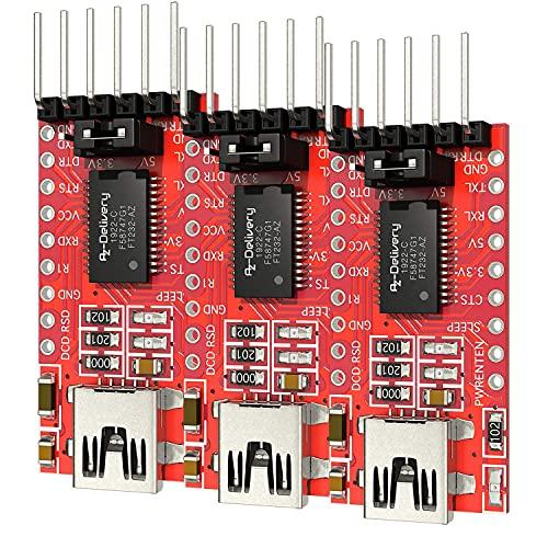 AZDelivery 3 x FT232RL USB zu TTL Serial Adapter für 3,3V und 5V kompatibel mit Arduino inklusive E-Book!