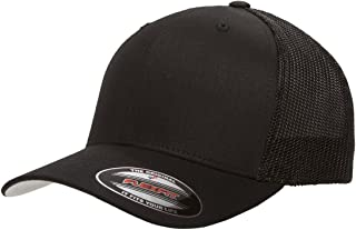 Flexfit Unisex-Adult's Stretch Mesh Fitted Cap, Black, One Size