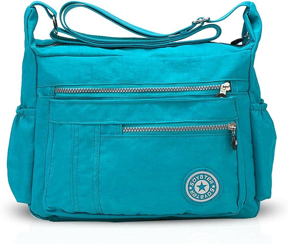 Nicole&doris borsa a tracolla per donna in nylon impermeabile di alta qualità e leggero con fodera in tessuto ND-SZ005
