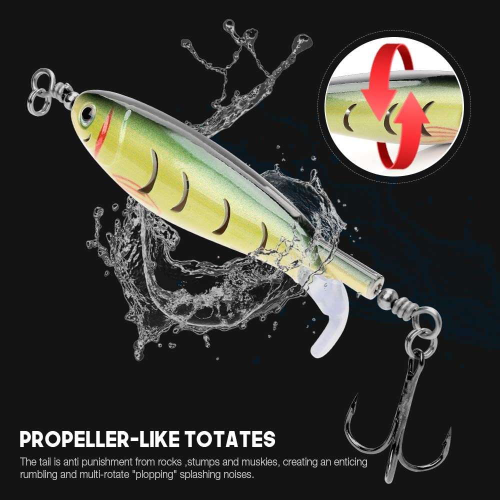 VTAVTA Fishing Lure Bass Topwater Floating Ploppers Rotating Tail Baits Freshwater Saltwater Lures for Carp Bass Pike