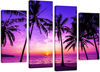 Kreative Arts - 4 Panel Tropical Palm Trees Purple Sunset on Ocean Beach Nature Wall Art Print Picture on Canvas Framed Artwork Ready to Hang