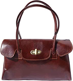 FLORENCE LEATHER MARKET Borsa Marrone a mano in pelle donna 35x14x23 cm - Lady - Made in Italy