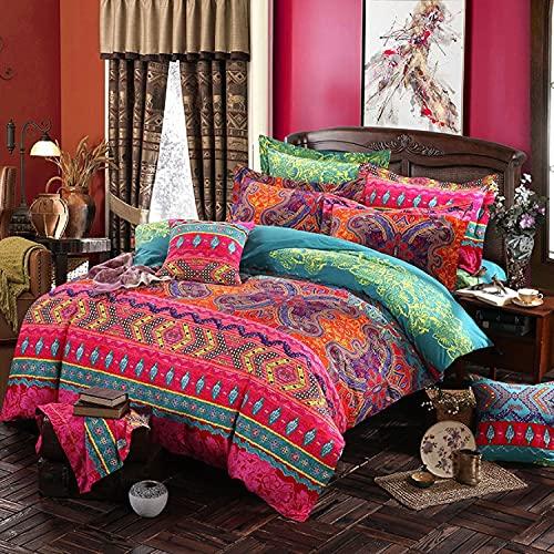 Lanqinglv Bohemian Bettwäsche 135x200 cm 4 Teilig Rot Boho Indischen Mandala Böhmisch Wendebettwäsche Set Bunt Vintage Bettbezüge mit Reißverschluss und Kissenbezug 80x80cm (MJH,4TLG)