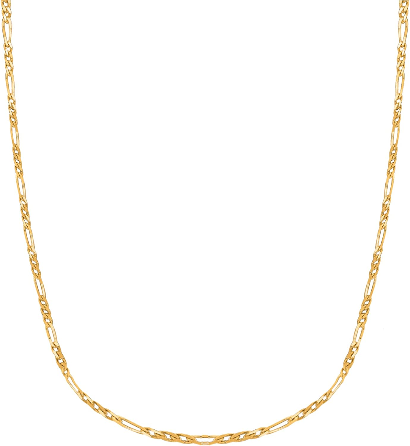 14k Yellow Gold Figaro Link Foot Chain Anklet or Necklace (1.3mm, 2.8mm)