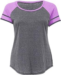 YEZIJIANG Basic Sommer T-Shirt//Oberteile Lose Einfarbig Rundhals Kurzarm Shirt Locker Oberteile Basic Tops Bluse