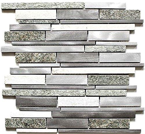 Mosaik Fliese Quarzit Naturstein Aluminium silber grau hellbeige Verbund für WAND BAD WC DUSCHE KÜCHE FLIESENSPIEGEL THEKENVERKLEIDUNG BADEWANNENVERKLEIDUNG Mosaikmatte Mosaikplatte