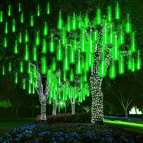 CHHD Rubans à LED,LED Meteor Shower Solar Lights Outdoor, 30cm 10 Tubes 360LEDs Garden Meteor Shower Lights Waterproof Falling Lights Raindrop Lights Christmas Tree Lights (Blue)