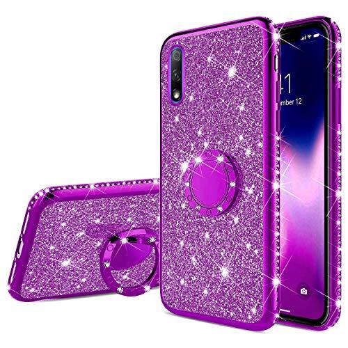 Funda Compatible con Huawei Honor 9X.Funda Carcasa Case Anillo Soporte Movil Purpurina Brillantes Diamante Ligero Cubierta Parachoques Brillo Clear Glitter TPU Ultradelgado Chapado Bumper,Púrpura