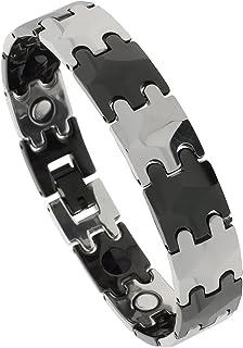 Tungsten Carbide /& Ceramic Magnetic Bracelet,2-Tone Bar Links Gun Metal, Black