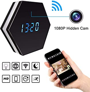 Balscw-J Mini cámara Reloj HD 1080P Wi-Fi Inteligente LED luz Reloj Espejo con visión Nocturna de Dos vías Audio detección...