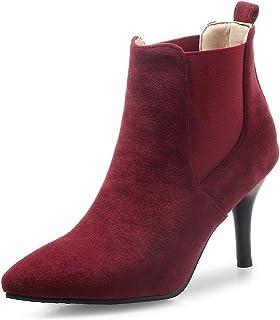 539ffa86c558da OALEEN Bottines Femme Vintage Effet Daim Enfiler Talon Aiguille Chaussures  Boots Pointu Hiver