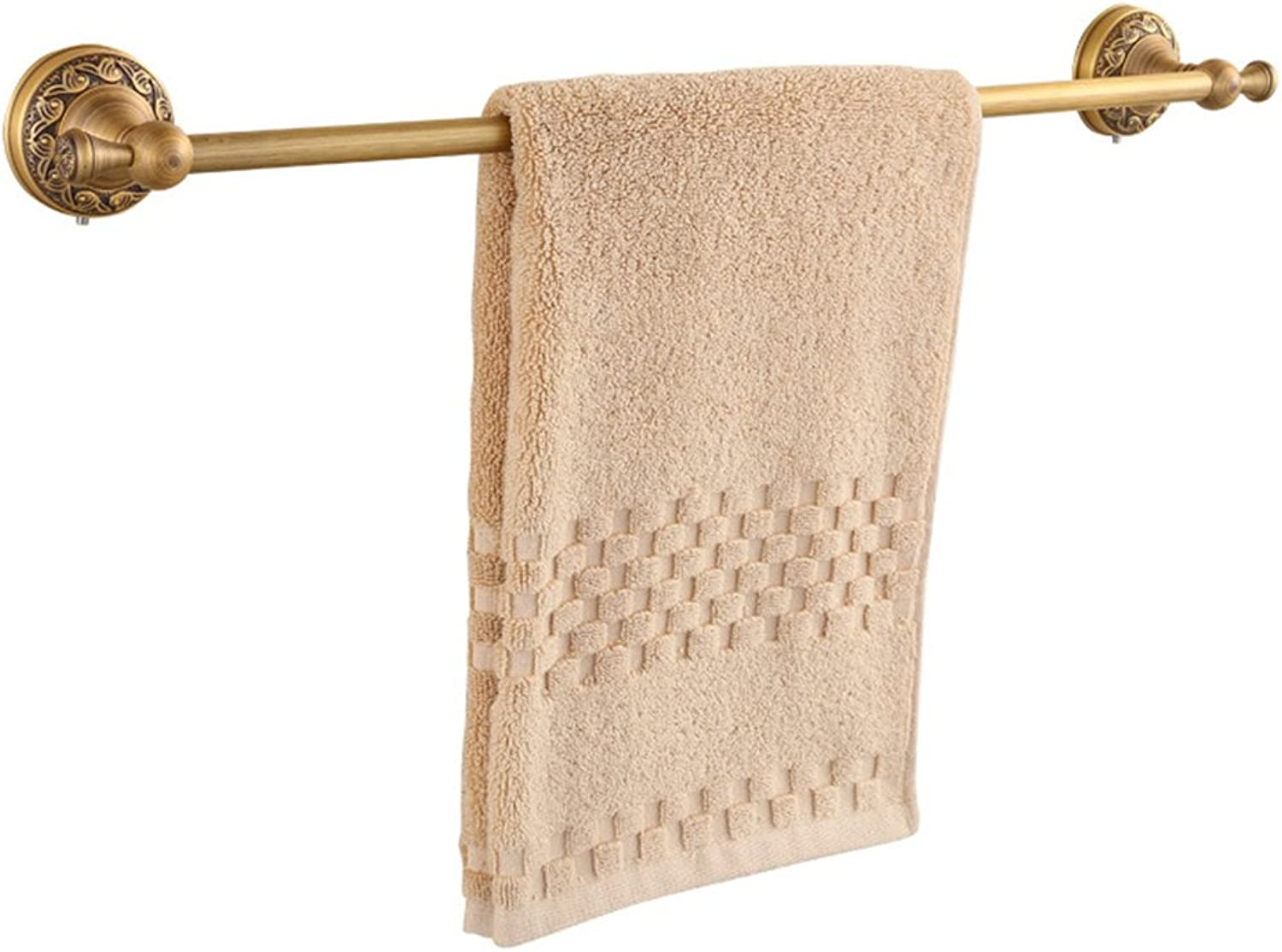 MX Towel Stands Towel Rack - Brass, Perforated, Antique, Wall-Mounted Retro Bathroom Towel Rack, for Bathroom, Kitchen - 61x 8cm @