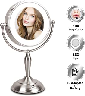 MIRRORMORE Lighted Makeup Mirror - 7.5 Inch Lighted Vanity Mirror, 1x/10x Magnifying Double Sided Mirror With Stand, AC Adapter Or Battery Operated, Natural White Light, Cord Or Cordless