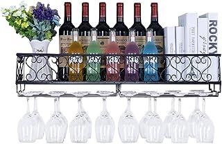 JJ Metal Negro Colgante De Pared Montado Vino Champaña Copas De Cristal Soporte De Estante para Vasos, 50/80 * 17 * 20 Cm Sujeta hasta 12/18 Botellas De Vino Y 12/18 Tazas Copas
