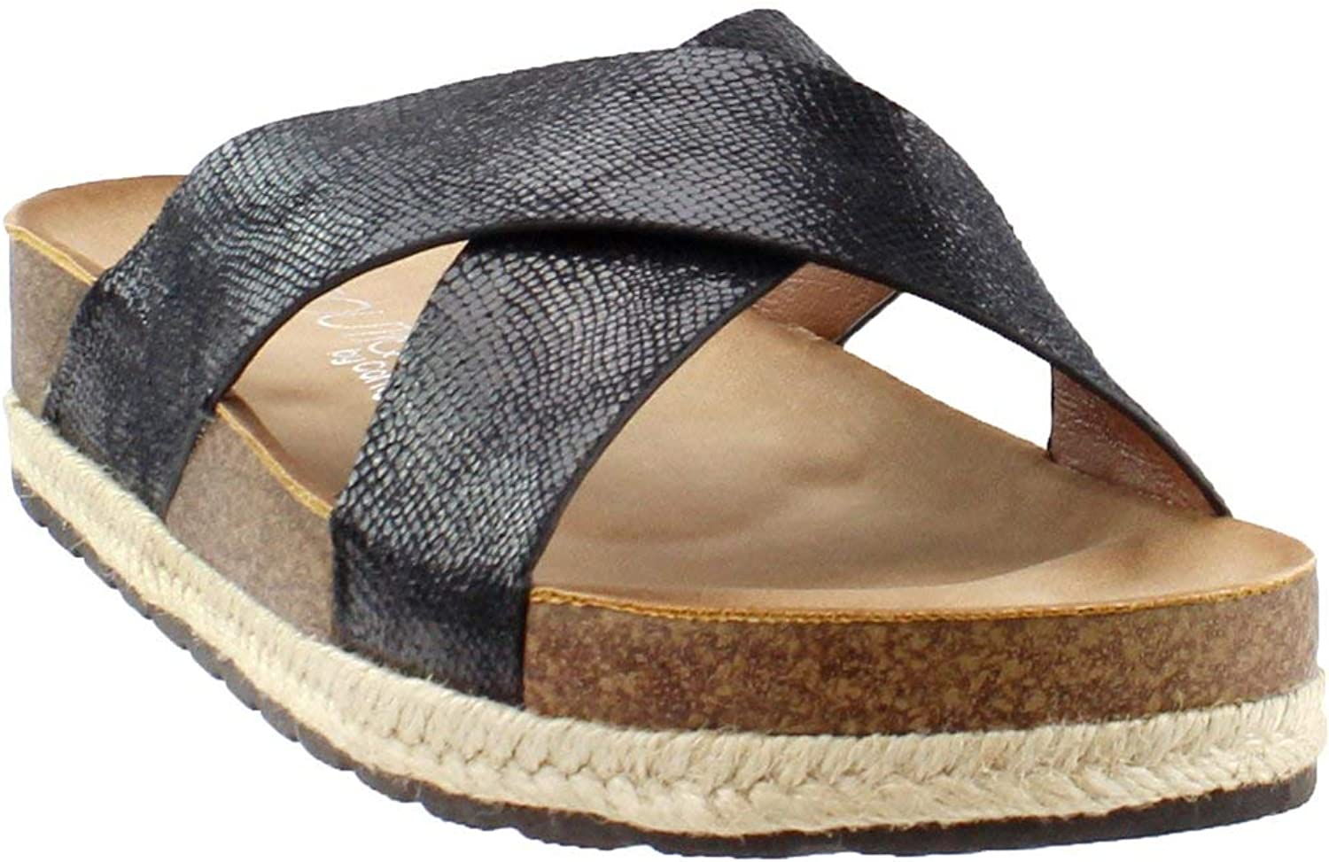 Corkys Footwear Womens Ladies Lizard Slide Sandals 8 Black