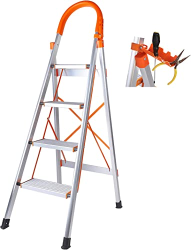 high quality Step sale Ladder discount 4 Step Folding, Aluminum Lightweight Step Stool Folding Household Ladder for Indoor & Outdoor with Anti-Slip Sturdy and Wide Pedal Ladder outlet sale