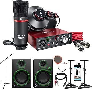 Focusrite Scarlett Solo Studio USB Audio Interface and Recording Bundle (2nd Gen) + Mackie CR Series CR3 Multimedia Monitors (Pair) + Quantity x2 Deco Mount PA Speaker Stand + More