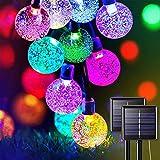 Solar Lichterkette Aussen, 23FT 50 LED Kristall Kugeln Lichterkette Außen Solar, 8 Modi Wasserdicht Outdoor Lichterkette Solar für Garten, Terrasse, Party, Balkon Deko (Bunt)