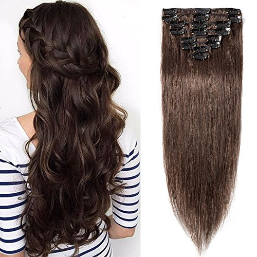 SEGO Extensions Cheveux Naturel Clip Rajout Froid Meche Humain - 40 CM 04#Marron Chocolat - [Mini Volume] Lisse Raide 100% Human Hair