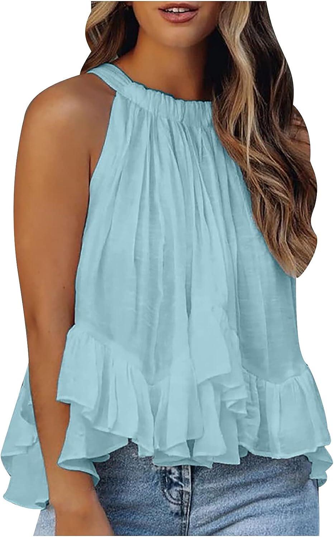 Anu Linen Womens Printed Halter Tank Tops,Sleeveless Casual Tee Tops Blouse Summer Fashion Comfty Halter Tank Tops