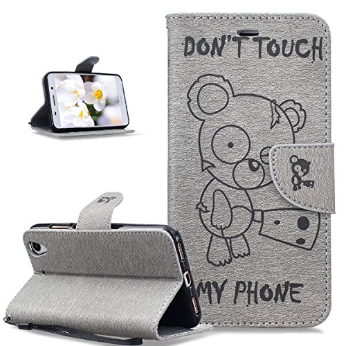 Coque Huawei Y6 II,Etui Huawei Y6 II,ikasus Gaufrage Tronçonneuse ours Don't Touch Py Phone Housse Cuir PU Etui Housse Coque Portefeuille supporter Flip Case Etui Housse Coque pour Huawei Y6 II,Gris