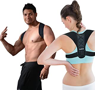 Back Straightener Posture Corrector for Men Women by PoleBody - Upper Back Body & Neck Pain Relief - Adjustable Clavicle Support Brace Strap for Primate Shoulder, Forward Head & Slouching Correction