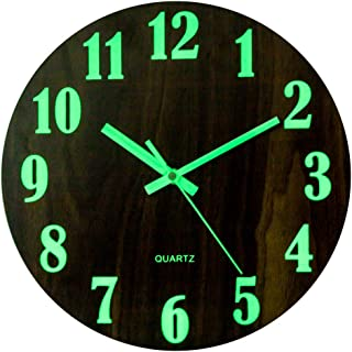 Petforu Night Light Function Wall Clock 12-Inch Glow in The Dark Battery Operated Silent